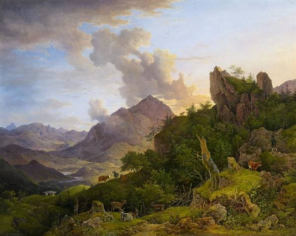 Max Joseph Wagenbauer 1775 Grafing - 1829 Munich Mountain Landscape Near Oberaudorf With Inntal Poster featuring the painting Landscape by Joseph Wagenbauer
