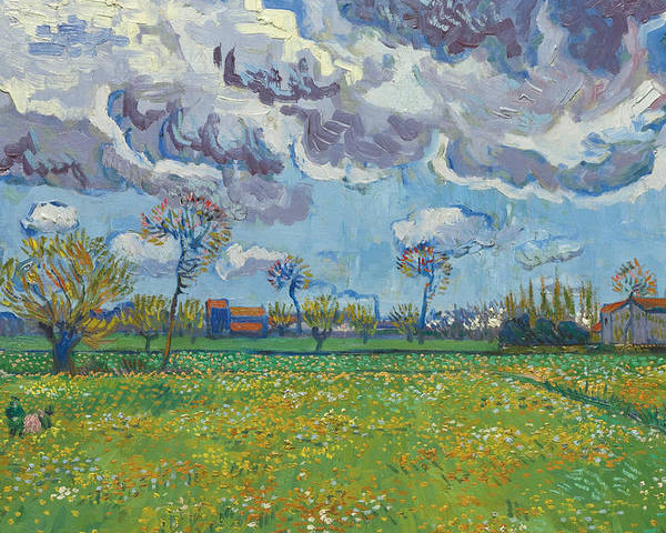 Vincent Van Gogh Poster featuring the painting Landscape Under A Turbulent Sky by Vincent van Gogh