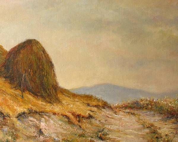 Armenia Poster featuring the painting Landscape With A Hayrick by Tigran Ghulyan