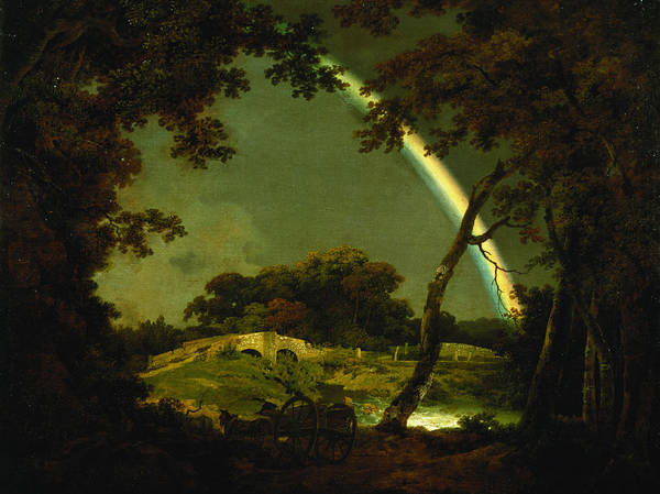 Landscape Poster featuring the painting Landscape With A Rainbow by Joseph Wright of Derby