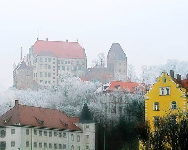 City Poster featuring the photograph Landshut Bavaria On A Foggy Day by Christine Till