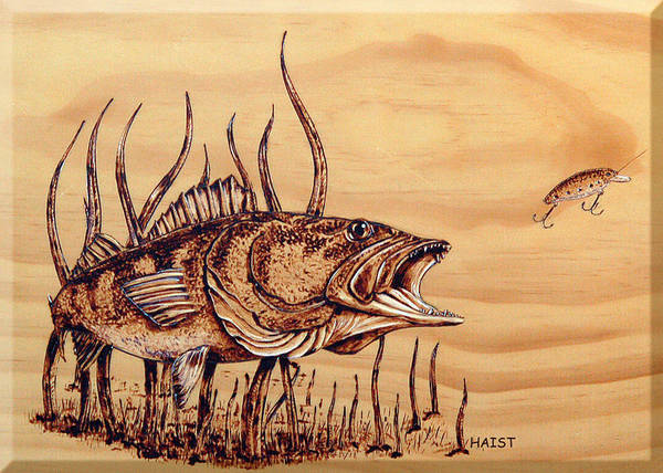 Fish Poster featuring the pyrography Largemouth Bass by Ron Haist