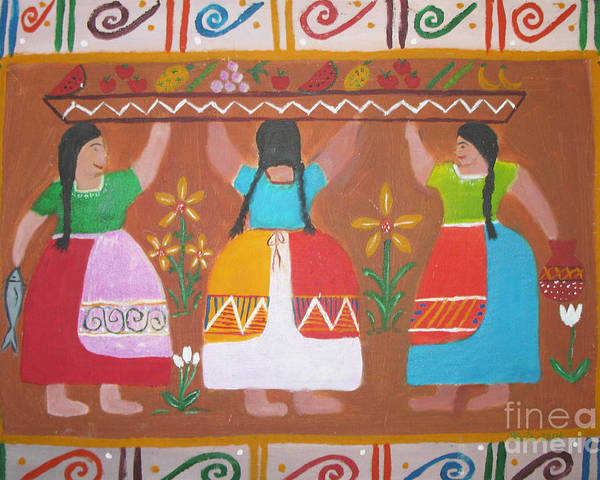 Mexican Art Poster featuring the painting Las Comadres by Sonia Flores Ruiz