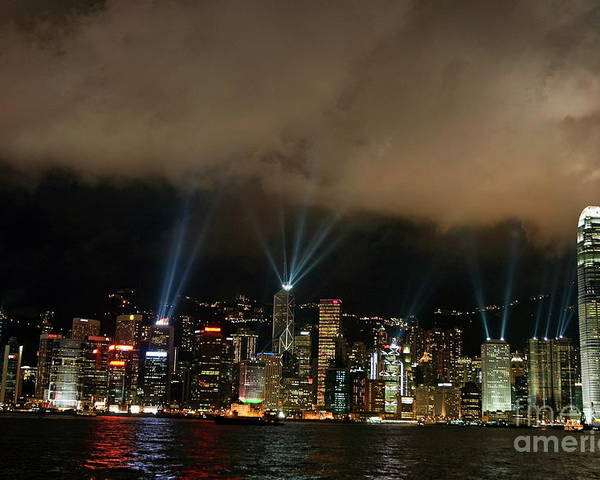 Asia Poster featuring the photograph Laser Show Over City At Night by Sami Sarkis