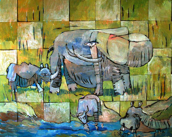 Elephants Poster featuring the painting Last Big Game by Charlie Spear