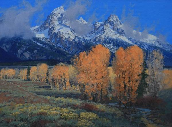 Landscape Poster featuring the painting 'last Leaves' by Lanny Grant