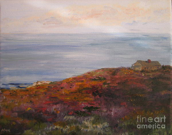 Landscape Poster featuring the painting Late Afternoon On Rockport Seaside In Autumn by Kayla Race