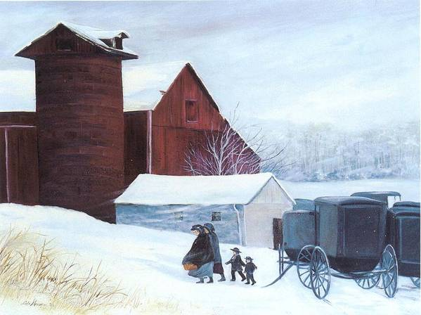 Amish;barn;buggies;winter;snow; Poster featuring the print Late Arrivals by Lois Mountz