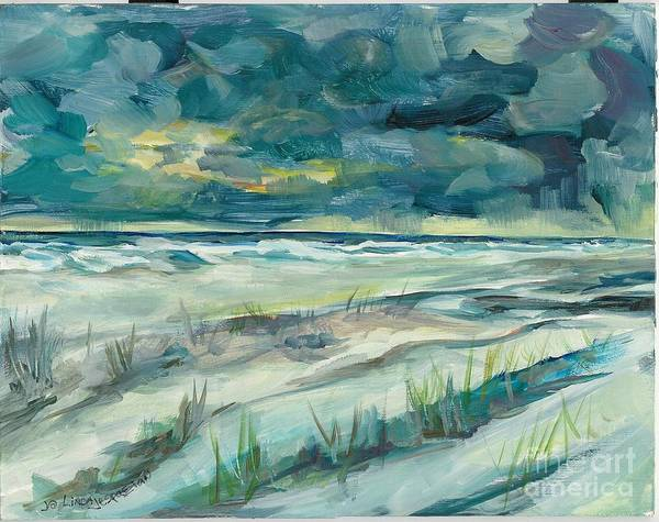 Beach Poster featuring the painting Late Evening Storm In Destin by Linda Vespasian