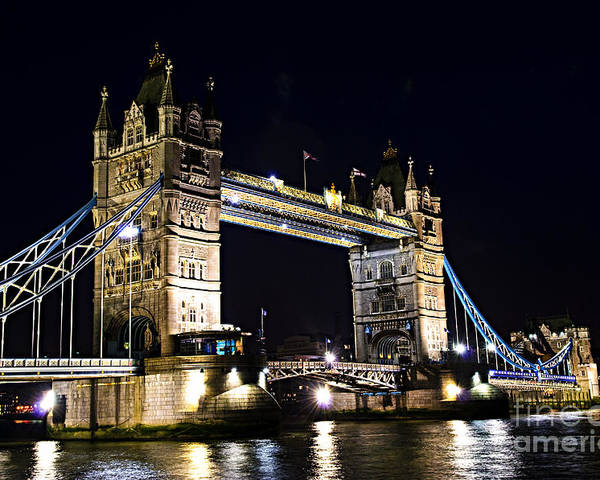 Tower Poster featuring the photograph Late Night Tower Bridge by Elena Elisseeva