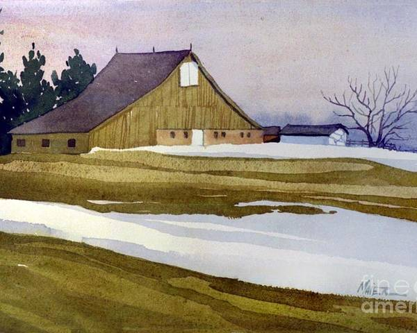 New Jersey Poster featuring the painting Late Winter Melt by Donald Maier