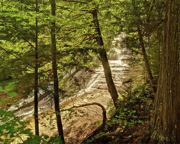 Laughing Whitefish Poster featuring the photograph Laughing Whitefish Falls 2 by Michael Peychich