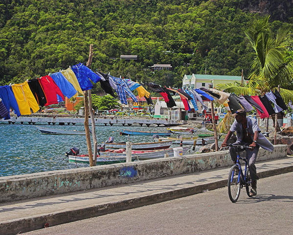 St Lucia Poster featuring the photograph Laundry Drying- St Lucia. by Chester Williams
