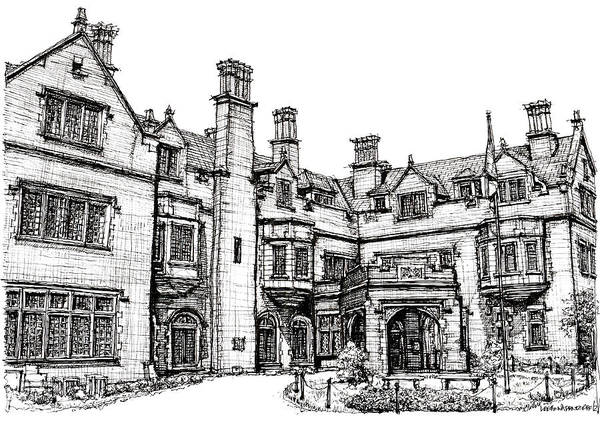 Laurel Poster featuring the drawing Laurel Hall In Indianapolis by Adendorff Design