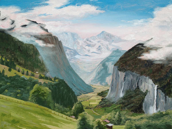 Switzerland Poster featuring the painting Lauterbrunnen Valley Switzerland by Jay Johnson