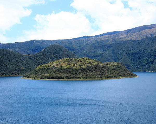 Island Poster featuring the photograph Lava Dome Island In Lake Cuicocha by Robert Hamm
