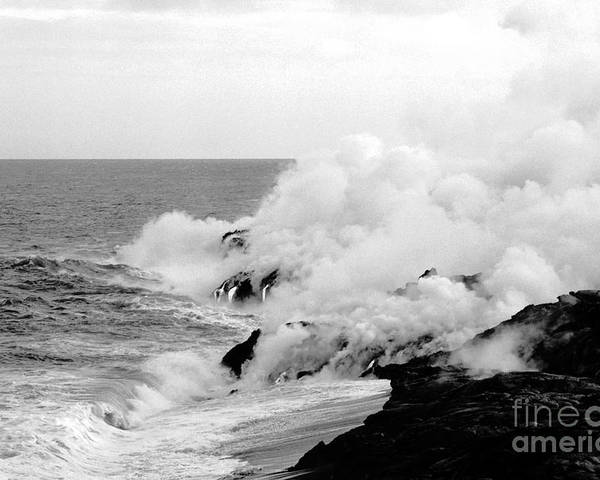 Lava Poster featuring the photograph Lava flowing to the sea by Susan Chandler