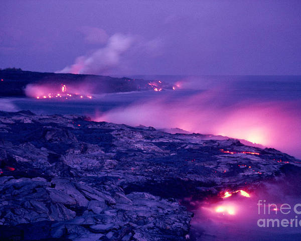 Amaze Poster featuring the photograph Lava Flows To The Sea by Mary Van de Ven - Printscapes