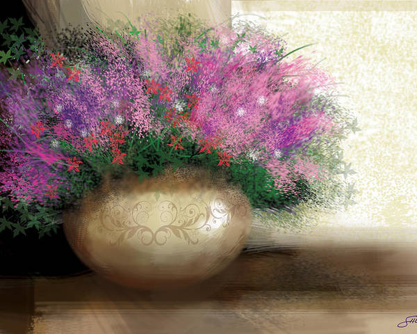 Flowers Poster featuring the digital art Lavender Bouquet by Harold Shull