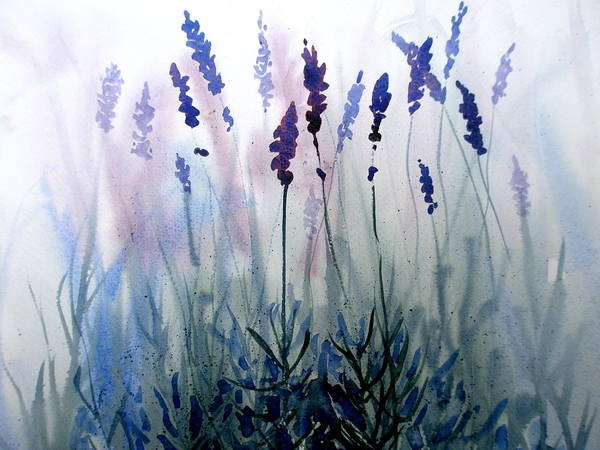 Lavender Poster featuring the painting Lavender by Lisa Schorr