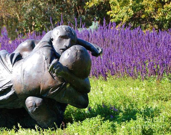 Statue Poster featuring the photograph Lavender Lovers by Debbi Granruth