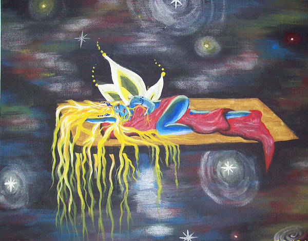 Fairy Poster featuring the painting Laying In Space by Hollie Leffel