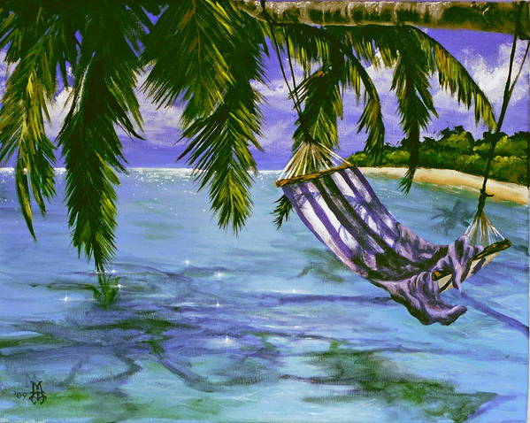 Tropical Poster featuring the painting Lazy Daze by Marco Antonio Aguilar