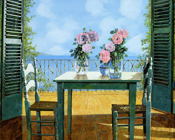 Terrace Poster featuring the painting Le Rose E Il Balcone by Guido Borelli