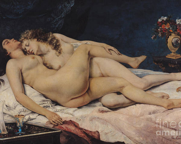 Love Poster featuring the painting Le Sommeil by Gustave Courbet