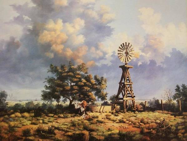 A New Mexico Landscape. Poster featuring the painting Lea County Memories by Wanda Dansereau