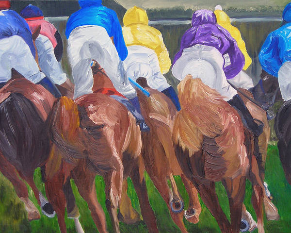 Horse Racing Poster featuring the painting Leading The Pack by Michael Lee