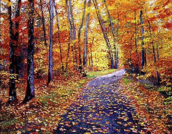 Trees Poster featuring the painting Leaf Covered Road by David Lloyd Glover