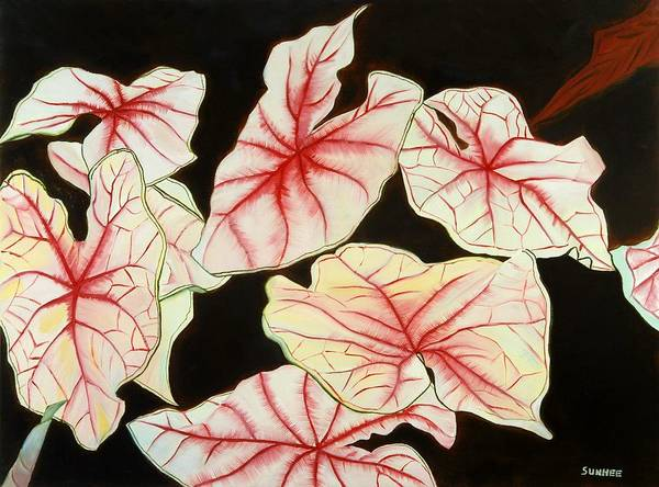 Leaves Poster featuring the painting Leaves by Sunhee Kim Jung