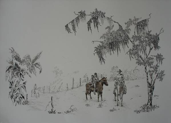 Landscape Poster featuring the drawing Leaving Home by Gloria Reyes Diaz