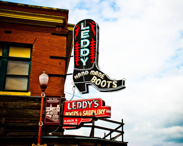 Neon Sign Poster featuring the photograph Leddy's Boots by David Waldo