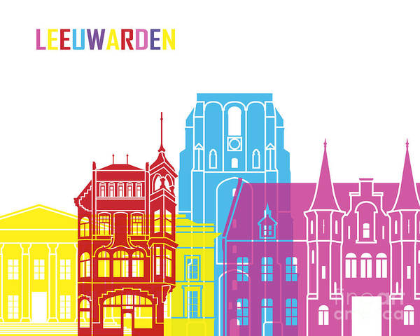 Europe Poster featuring the painting Leeuwarden Skyline Pop by Pablo Romero