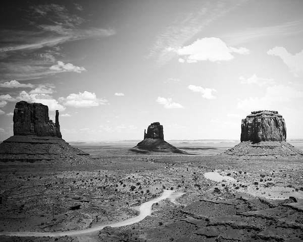 ryankellyphotography@gmail.com Poster featuring the photograph Left And Right Mittens And Merrick Butte Black And White by Ryan Kelly