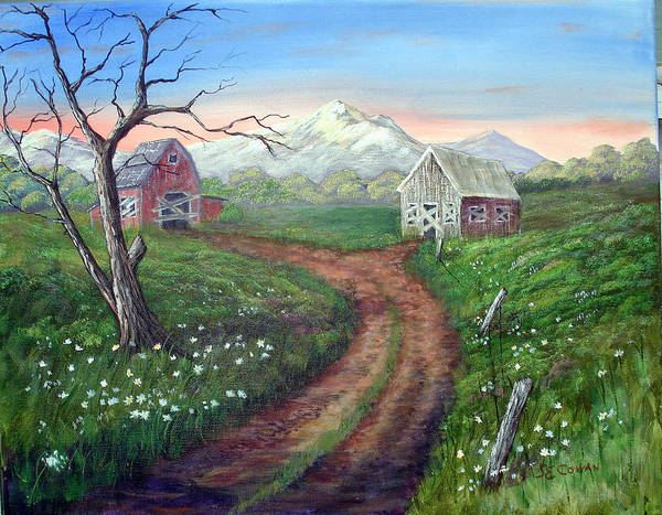 Landscape Poster featuring the painting Left Behind - The Old Homestead by SueEllen Cowan
