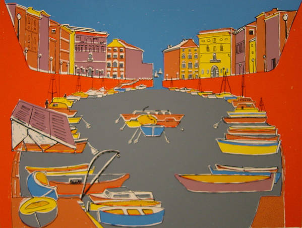 Poster featuring the painting Leghorn Canal by Biagio Civale