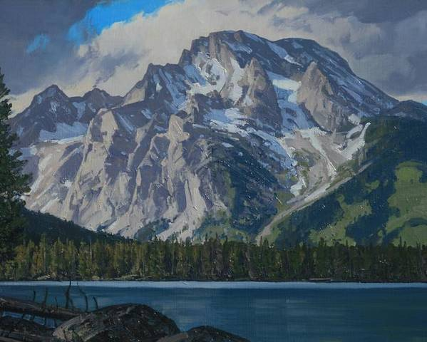 Landscape Poster featuring the painting Leigh Lake by Lanny Grant