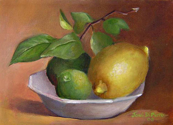 Still Life Poster featuring the painting Lemon And Limes Still Life by Joni Dipirro