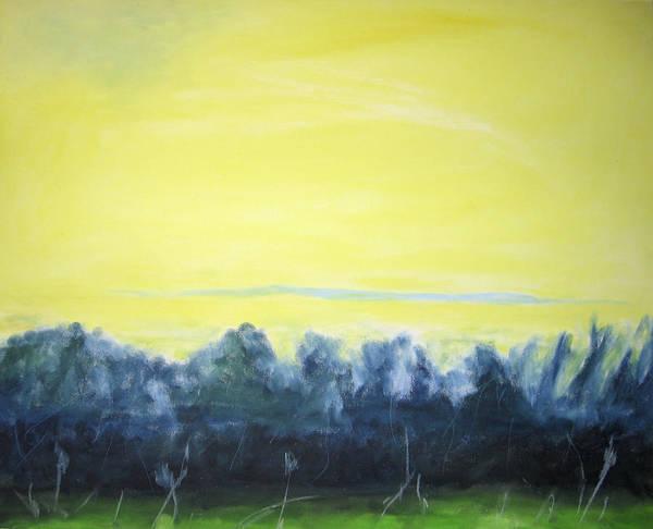 Poster featuring the painting Lemon Sunset by Ingrid Torjesen