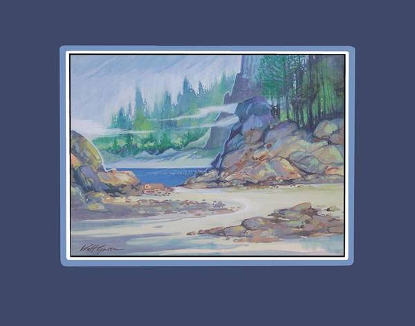 Landscape Seascape Sand And Dunes Forest And Ocean Cove Poster featuring the painting Lemonpepper Cove by Walt Green