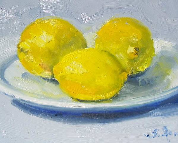 Still Life Poster featuring the painting Lemons On A White Plate by Susan Jenkins