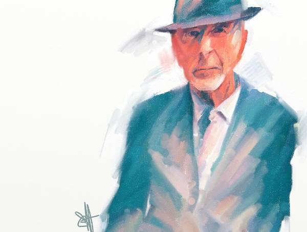 Leonard Cohen Music Portrait Musician Songwriter Poster featuring the digital art Leonard by Scott Waters