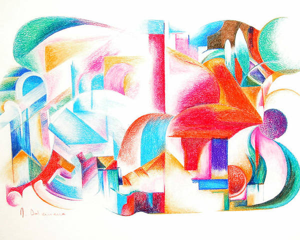 Abstract Poster featuring the drawing Les Temps modernes by Muriel Dolemieux