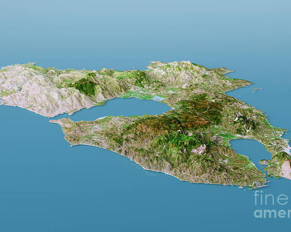 Lesbos Island Topographic Map 3d Landscape View Natural Color Poster