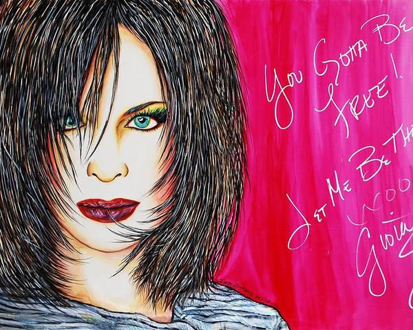 Autographed Poster featuring the mixed media Let Me B Free And The One by Joseph Lawrence Vasile
