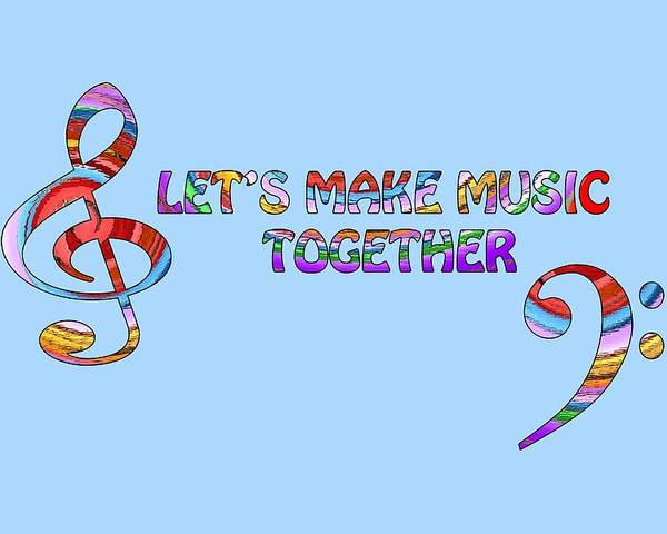 Music Poster featuring the digital art Let's Make Music - Blue by Gill Billington