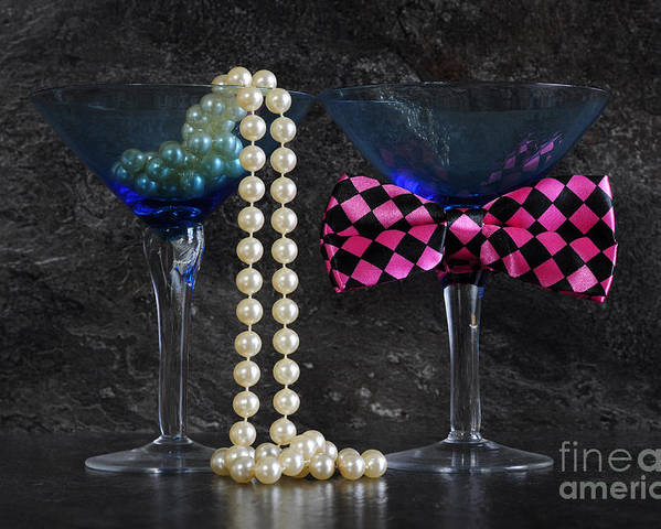 Still Life Poster featuring the photograph Lets Party Vintage Blue Martini Glasses On Black Sla by Milleflore Images
